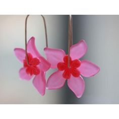 Pink Hawai flower earrings