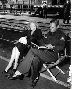"""Cary Grant and Eva Marie Saint on the set of """"North by Northwest"""", 1959"""