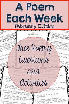 FREE February a Poem Each Week. Questions and activities to accompany 4 February-Themed poems.
