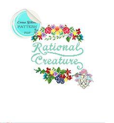 Rational Creature. Feminist Quote. Mary Wollstonecraft. Jane Austen Quote. Cross Stitch Pattern. Digital Download PDF.
