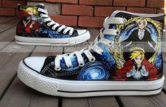 Search Results -> fullmetal : Hand Painted Canvas Shoes, Custom Canvas Sneakers Shoes, Painted Shoes Oline! Painted Canvas Shoes, Painted Sneakers, Hand Painted Shoes, Canvas Sneakers, Kinds Of Clothes, Clothes For Sale, Top Shoes, Black Shoes, High Top Sneakers
