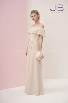 979b95b2cf7 Jasmine Bridesmaids P196056 Off-the-shoulder A-line dress with a delicate  ruffled