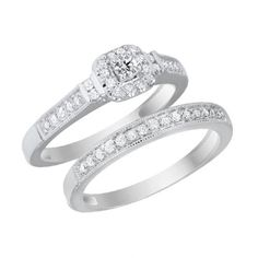 Solitaire Diamond Engagement Ring and Wedding Band Set - 10K White Gold -1.09ct