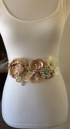 Creamy Wedding Sash Ivory Wedding by BridalBlingNBowtique on Etsy