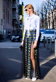 Button up + printed mesh maxi skirt + sneakers