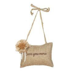 Love You More Burlap Pillow Door Hanger | Kirklands