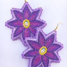 Another pair of florals sold Beaded Earrings, Beaded Jewelry, Crochet Earrings, Native American Moccasins, Native Beadwork, Native American Beading, Types Of Flowers, Beaded Embroidery, Nativity