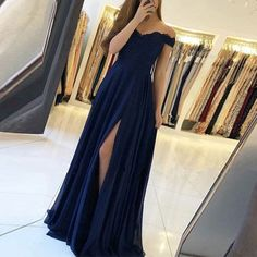 Chiffon Lace Off-the-Shoulder Long Prom Dresses Formal Evening Dresses - Bal de Promo Simple Dresses, Elegant Dresses, Sexy Dresses, Navy Prom Dresses, Long Dresses, Bridesmaid Dresses, Dresses Uk, Dresses Ireland, Prom Outfits