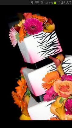 Pink orange zebra wedding cake