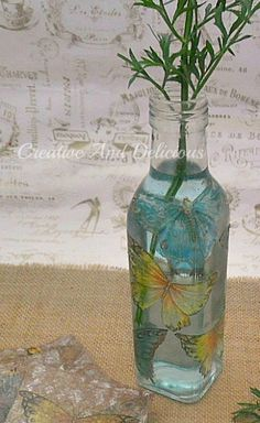 Butterfly Vase decoupage with napkins