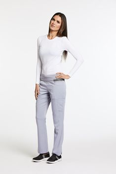 6deb66804ab Harmony Pant// 4-pocket, low-rise shaped leg pant with double welt cargo  pockets, knit waistband with contrast space dye knit inset, hidden tie and  ...
