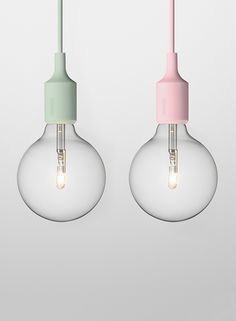 light with a bit of pastel color. Could see this in a white kitchen :) I like these pastel light bulbs! Interior Lighting, Lighting Design, Muuto Lighting, Interior Pastel, Deco Pastel, Pastel Decor, Pastel Colors, Colours, Soft Colors