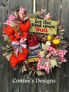 Let the good times Boil! Crab Boil Party, Crawfish Party, Crawfish Season, Seafood Party, Seafood Boil, Wreath Crafts, Diy Wreath, Diy Crafts, Deco Mesh Wreaths
