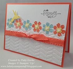 handmade card by LaLatty Stamp 'N Stuff ... light and cheerful look to match the sentiment ... luv the row of layered flowers with popped up hummingbird on top ... cute use of embossing folder leaves for each flower ... knotted ribbon ... great card! ... Stampin' Up!