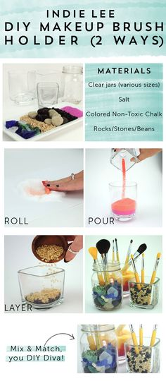 Not one but TWO different #DIY makeup brush holders - so easy and fun!