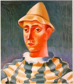 Cabeça de arlequim.  Óleo sobre tela.  460x400mm   José de Almada Negreiros (1873 - 1970 )