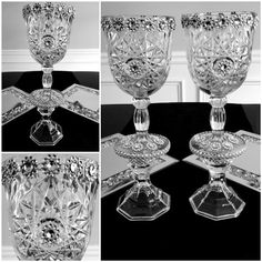 Items similar to Two Piece Pressed Glass Decor Silver on Etsy Dollar Tree Glasses, Dollar Tree Candle Holders, Diy Party Things, Vases Decor, Centerpieces, Wedding Glasses, Wedding Table Decorations, Pressed Glass, Crafts To Do