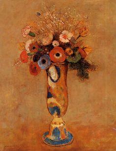 "artist-redon: ""Wildflowers in a Long Necked Vase, Odilon Redon Medium: oil on canvas"""