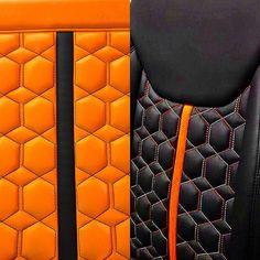 jeep wrangler orange and black interior honeycomb pattern stitch seats Custom Car Interior, Car Interior Design, Truck Interior, Interior Trim, Automotive Upholstery, Car Upholstery, Jeep Seats, Car Seats, Orange Jeep Wrangler