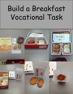Build a Breakfast is a real image food task to help students learn a realistic skill of fast food customer service. Might be an idea for teaching food handling and safety. Life Skills Lessons, Life Skills Activities, Life Skills Classroom, Teaching Life Skills, Special Education Classroom, Special Education Activities, Autism Activities, Sorting Activities, Classroom Setup