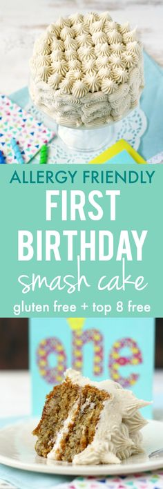 An easy, cute, allergy friendly smash cake is perfect for your little one's first birthday! #glutenfree #ad @amgreetings