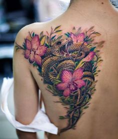 Realistic Snake Back Tattoo for Women