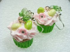 Easter Cupcake Earrings Polymer Clay by GiraffesKiss on Etsy