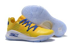 """959c6adfe11d 2017 Under Armour Curry 4 Low """"Warriors"""" Yellow Royal Blue-White"""