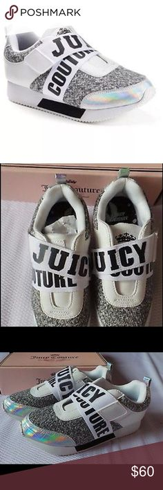 """JUICY COUTURE Gray Tweed Sneakers NWT JUICY COUTURE gray tweed sneakers will be a fashionable addition to your casual wardrobe!  *IF YOU ARE GOING TO WEAR SOCKS OR LIKE A LITTLE BIT OF EXTRA ROOM I WOULD GO UP 1/2 SIZE.  I'M AN 8.5 & COULD WEAR 8.5 OR 9, BUT THE 9 GAVE ME A LITTLE EXTRA ROOM. - Metallic detail - Manmade, tweed fabric upper - Fabric lining and midsole - TPR, leather outsole - Round toe - Velcro Black """"Juicy Couture"""" closure - Padded footbed  *Bundle Discounts * No Trades…"""