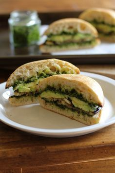 Roasted Eggplant Sandwich with Avocado and Kale Pesto