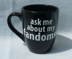 The Hunger Games Dr Who Sherlock Avengers anime cosplay sci-fi ask me about my fandoms 12 oz ceramic coffee mug handmade on Etsy, $9.99