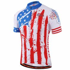 USA Team Mountain Bike Jersey Coolmax Cycling Jersey American Bicycle Jersey Reflective S-5XL