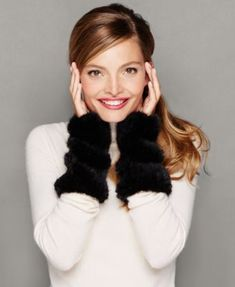 Warm up your hands in glamourous with The Fur Vault's mink fur fingerless gloves. | Real mink fur | Professional fur clean only | Imported | Fur origin: Denmark | Genuine dyed, pieced mink fur | Appro