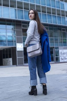 Gray and all the shades of blue  Denim, Carpisa Bag, gray turtleneck, ankle boots