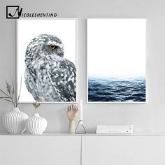 Nordic style owl ocean landscape canvas posters and prints wall art painting scandinavian decoration pictures modern Canvas Poster, Canvas Wall Art, Wall Art Prints, Decorating With Pictures, Decoration Pictures, Nordic Style, Scandinavian Style, Nordic Art, Animals Black And White
