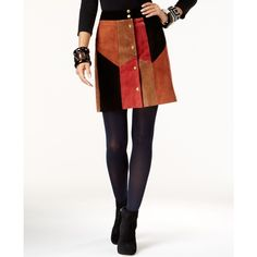 Inc International Concepts Leather Patchwork A-Line Skirt, ($120) ❤ liked on Polyvore featuring skirts, navajo combo, real leather skirt, inc international concepts skirt, leather skirt, white knee length skirt and leather a line skirt