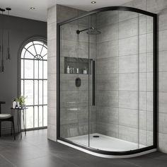 Shower Box, Shower Screen, Small Bathroom, Bathroom Showers, Family Bathroom, Master Bathroom, City Bathrooms, Quadrant Shower Enclosures, Black Shower