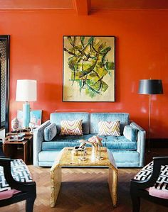 Charming Living Room Design with Orange Wall