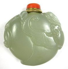 Antique Chinese Jade Carved Snuff Bottle with Bats