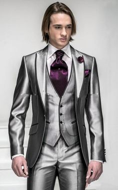 New Style One Button Shiny Silver Grey Men'S Wedding Suits Best Man Suits Jacket+Pants+Vest Wholesale Handsome New Design Mens Wedding Clothes Suits Wedding From Crystalwedding2015, $89.45| Dhgate.Com