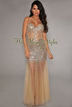 Champagne Sequins Rhinestones Embellished Mesh Gown