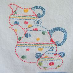 Embroidered Tea DishTowels Gift for Her Coffeepot Tea Pot Pitcher Glasses Red… Hand Work Embroidery, Embroidery Patterns Free, Hand Embroidery Designs, Cross Stitch Embroidery, Machine Embroidery, Dish Towels, Tea Towels, Embroidery Techniques, Retro