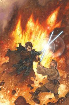 Dave Dorman is one of the greats when it comes to Star Wars art. While he may no - Star Wars Art - Trending Star Wars Art - Anakin Vs Obi Wan, Anakin Vader, Anakin Skywalker, Darth Vader, Star Wars Fan Art, Star Wars Pictures, Star Wars Images, Star Wars Clone Wars, Star Wars Legacy
