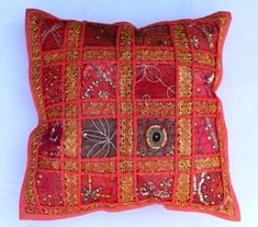 indian Handmade Patchwork cotton Cushion Cover Home Decor Pillow Cases KH096 #Handmade #Ethnic