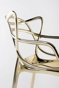 Masters chair by Philippe Stark's, gold-coated plastic, for Kartell Metal