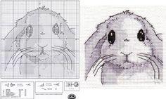 0 point de croix grille petit lapin blanc