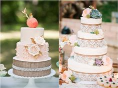 30 Burlap Wedding Cakes for Rustic Country Weddings | Deer Pearl Flowers