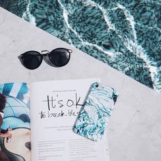 summer vibes | summer | beach | bikini | summer shot idea | summer photo ideas | travel | vacation |burga | marble phone case | blue marble case | marbled | ocean marble | poolside | poolflatlay | pool | flatlay