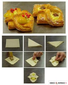 Tart with fruit Puff Pastry Appetizers, Puff Pastry Desserts, Puff Pastry Recipes, Dessert Original, Baking Buns, Croissant Recipe, Pastry Design, Bread Shaping, Homemade Dinner Rolls