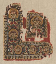 Ornament (Gammadion and Segmentum) from a Tunic, 500s  Egypt, Antinoë ?, Byzantine period, 6th century  tabby ground, inwoven tapestry ornament; wool, Overall - h:28.00 w:23.60 cm (h:11 w:9 1/4 inches). The A. W. Ellenberger, Sr., Endowment Fund 1973.21